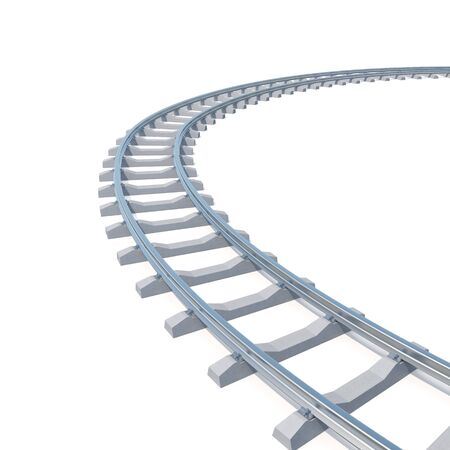 railroad track: Curved, bend railroad track isolated on white background. 3d illustration