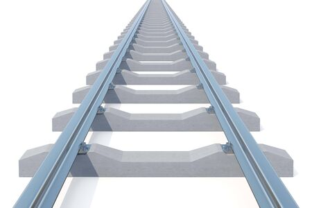 harsh: Railroad going into the distance isolated on white background. Road to nowhere. 3d illustration.