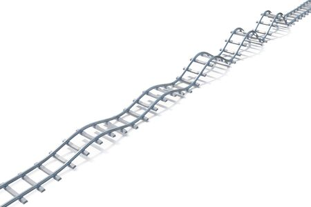 splint: Wave railroad aerial view isolated on white background. 3d illustration Stock Photo