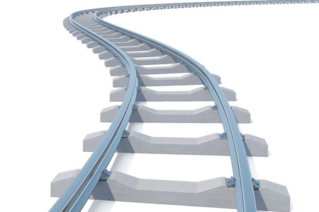 monorail: Curved, bend railroad track isolated on white background. 3d illustration