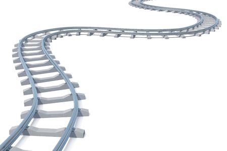 Courbé, voie ferrée coude isolé sur fond blanc. 3d illustration