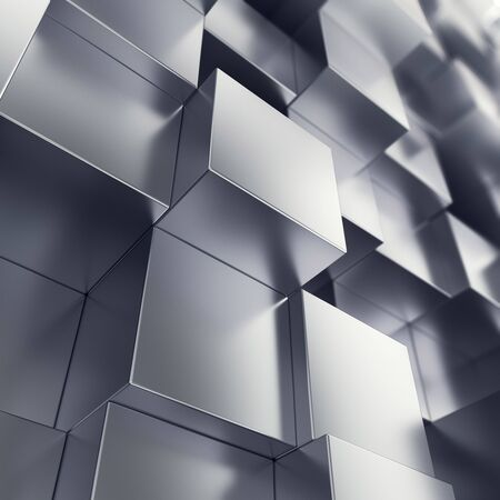 diagonals: Abstract background from metallic cubes, with focue effects. 3d illustration