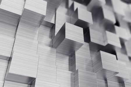 diagonals: Scratched cubes abstract background with focus effect., 3d illustration Stock Photo