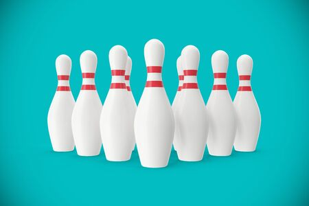 bocce: Bowling pins on turquoise background, 3d illustration