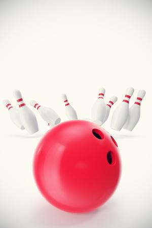 Rode bowling bal op de voorgrond met de pennen weg, 3d illustratie Stockfoto