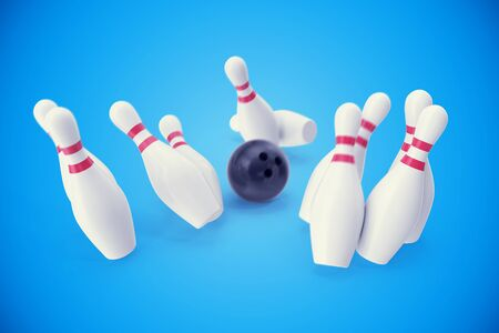 destroying the competition: Bowling game, black bowling ball crashing into the skittles, 3d illustration Stock Photo