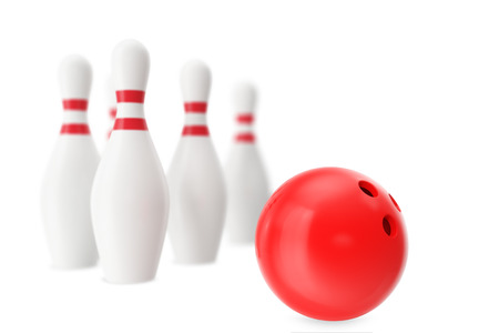 destroying the competition: Red bowling ball in the foreground with a blur effect, 3d illustration