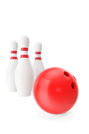 destroying the competition: Red bowling ball in the foreground isolated on white, 3d illustration Stock Photo