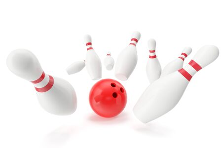 destroying the competition: Bowling game, red bowling ball crashing into the skittles, 3d illustration
