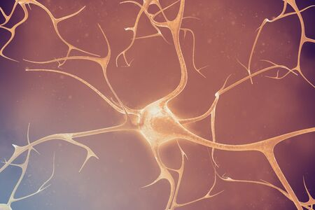 nerve signals: Neurons in the beautiful background 3d illustration of a high quality Stock Photo