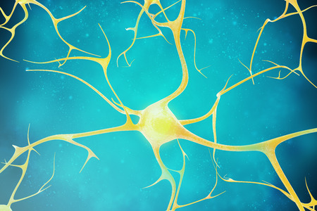 synaptic: Neurons in the beautiful background 3d illustration of a high quality Stock Photo