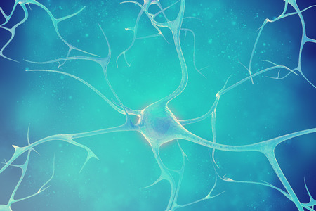 dendrites: Neurons in the beautiful background 3d illustration of a high quality Stock Photo