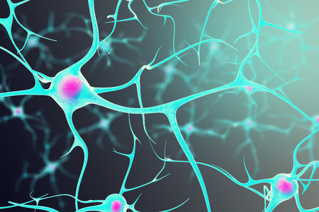 neurone: Neurons in the brain with a nucleus inside on a black background. 3d illustration