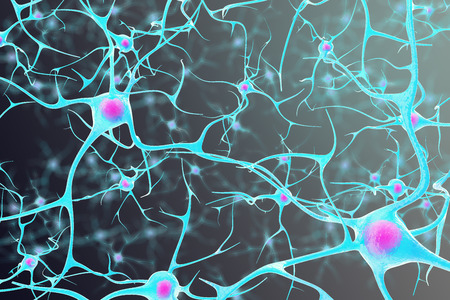 Neurons in the brain with a nucleus inside on a black background. 3d illustration