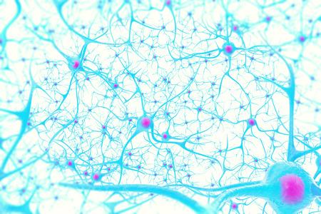 Neuronen in de hersenen op een witte achtergrond met focus effect 3D-afbeelding Stockfoto