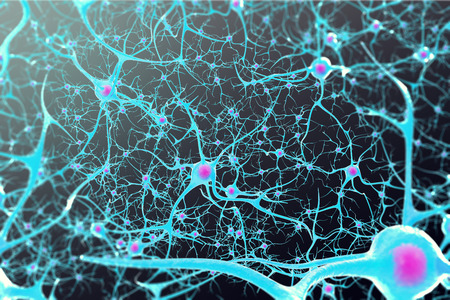 Neurons in the brain with a nucleus inside on black background 3d illustration Stockfoto