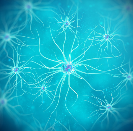 dendrites: Brain cells on blue background 3d illustration high quality