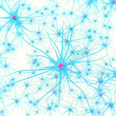 sensory receptor: Neurons in the brain on white background with focus effect 3d illustration Stock Photo