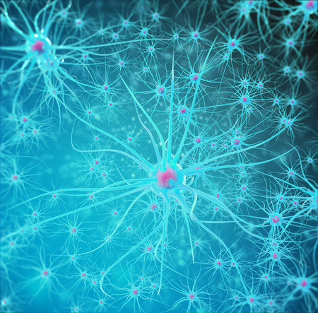 Neural network, brain cells, nervous system 3d illustration