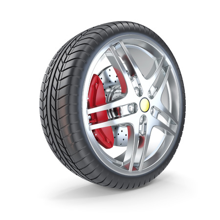 tire cover: Sports car wheel isolated on white background 3d illustration