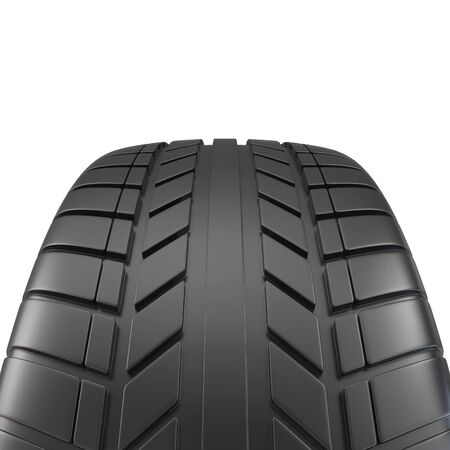 unused: Car tire close-up, on white background 3d illustration