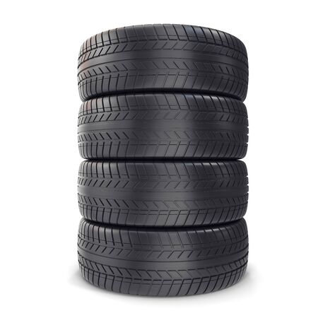 Pile Car wheels on white background 3d illustration Stock Photo