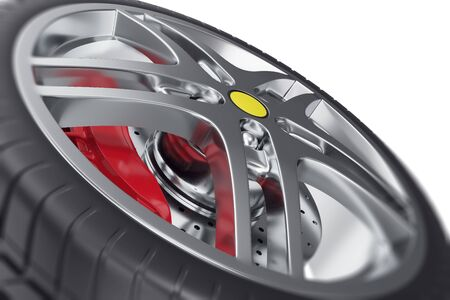 raytraced: Car wheel close-up view with focus effect 3d illustration Stock Photo