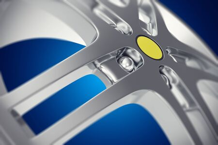 rim: Car rim close-up view with depth of field effect on blue background 3d illustration Stock Photo