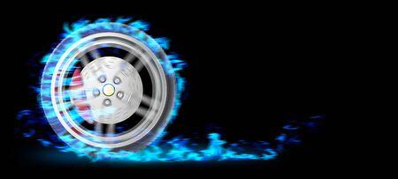 explosion engine: Blue Burning wheel on black bacgkround 3d illustration Stock Photo