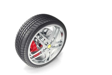 tire cover: Car wheel isolated on white background 3d illustration Stock Photo
