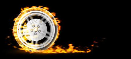 explosion engine: Red Burning wheel on black bacgkround 3d illustration
