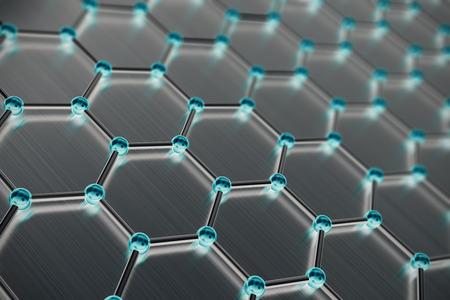 Graphene atomic structure, nanotechnology background 3d illustration Stockfoto