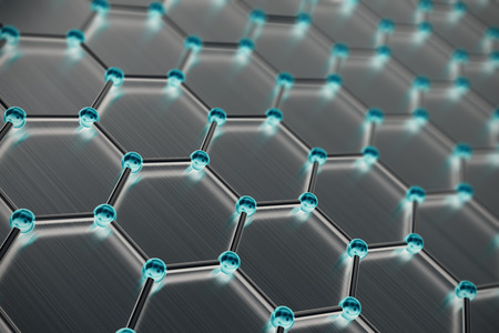 Graphene atomic structure, nanotechnology background 3d illustration Stok Fotoğraf