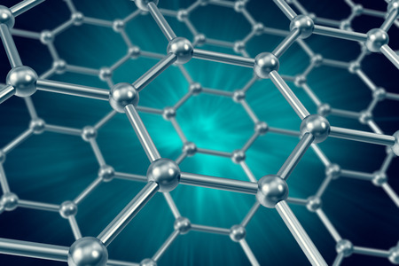 nanotube: The model structure of graphene sheets on a blue background 3d illustration