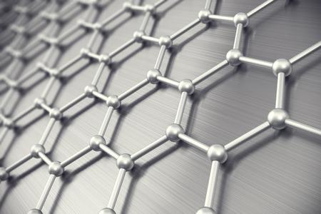 Graphene atomic structure, nanotechnology background 3d illustration Archivio Fotografico