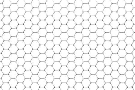 graphene: Graphene atomic structure, nanotechnology background 3d illustration Stock Photo