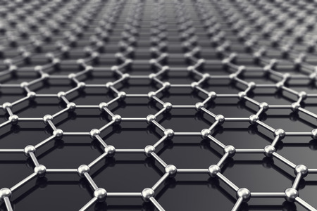 atomic structure: Graphene nanostructure sheet at atomic scale 3d illustration