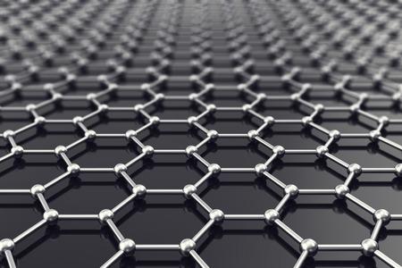 Graphene nanostructure sheet at atomic scale 3d illustration