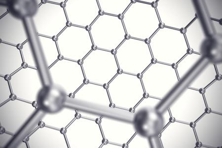 graphene: Graphene nanostructure sheet at atomic scale 3d illustration