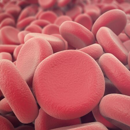 Abstract red blood cells, erythrocytes illustration, scientific, medical or microbiological background with depth of field. 3d illustration. Stock Photo