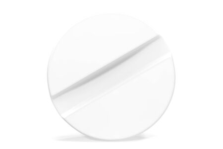 bolus: White close-up tablet isolated on white background, 3d illustration