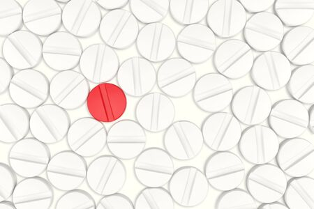 bolus: Top view of white medicine pills. One red medicine tablet is as a concept of a vaccine, 3d illustration Stock Photo