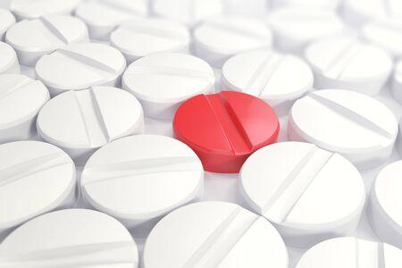pilule: píldoras médicas blancas en el centro del concepto pastilla roja como vacunas, ilustración 3d Foto de archivo