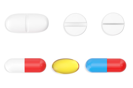 bolus: Tablets, capsule and pills set isolated on white background, 3d illustration