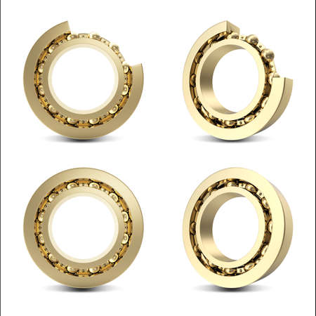 bearing: Set Gold bearing isolated on white background with shadow, 3d illustration