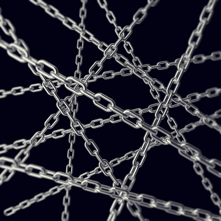 catenation: Tangled chain isolated on white background, 3d illustration