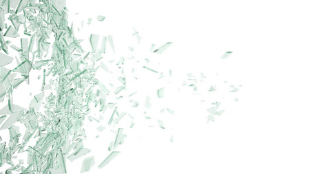 Abstract broken green glass in motion into pieces isolated on white background, 3d illustration