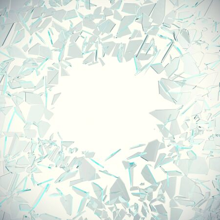 Abstract broken glass into pieces isolated on white background with place for text, 3d illustration Stock Photo