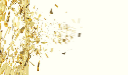 raze: Broken gold wall isolated on white background, 3d illustration