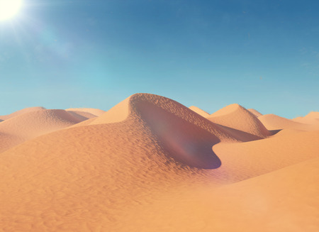 yellow adventure: Illustration of sand dunes in the desert. In a very hot sunny day. 3d illustration